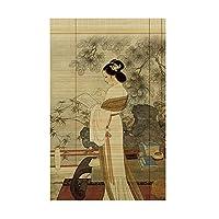 ブラインド XIAOY 古典的な文化の軽いろ過ローラーの色合いの茶室の装飾の竹が付いている注文のローラーブラインド4色 (色 : C, サイズ さいず : 90×200cm)