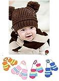 【Mariazyu】 かわいい ダブルぼんぼんニット帽 ( 可愛い 手袋 セット ♪) 子供用 ベビー用 (ブラウン)