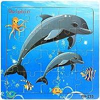 木製のジグソーパズルの子供たちの幸せな ジグソーパズル木製の漫画の動物のジグソーパズルの子供の教育玩具イルカ