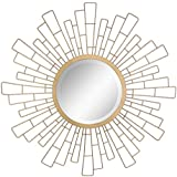 """Stonebriar Round Decorative Antique Gold 23"""" Geometric Metal Sunburst Hanging Mirror for Wall, Modern Boho Decor for The Living Room, Bathroom, Bedroom, and Entryway"""