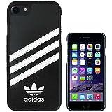 アディダス 時計 TeamS(チームエス) adidas アディダス iPhone7 ケース ブランド ハード スマホケース アイホン7 ケース 3ストライプ ブラック/ホワイト 当店オリジナルフィルム付き [並行輸入品]