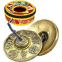 Twinkle goods (ツインクルグッズ) ティンシャ ベル チベットベル チベット 仏教 ハンドベル 打楽器 ヨガ 風水 鐘 鈴 透き通る音色 瞑想 ヒーリング 不安 ストレス解消 集中力アップ 専用保護ケース 付き 吉祥八宝 黄銅