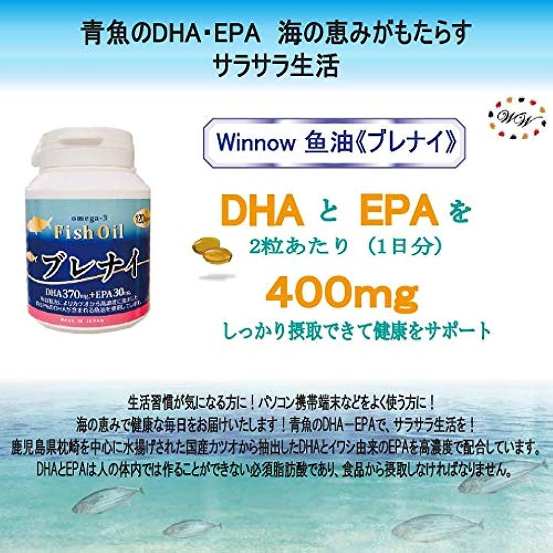 トラクターキャンププラットフォームWinnow魚油<ブレナイ> オメガ3脂肪酸 Omega3 Fish oil 日本産高濃度DHA、EPA / 120粒入り