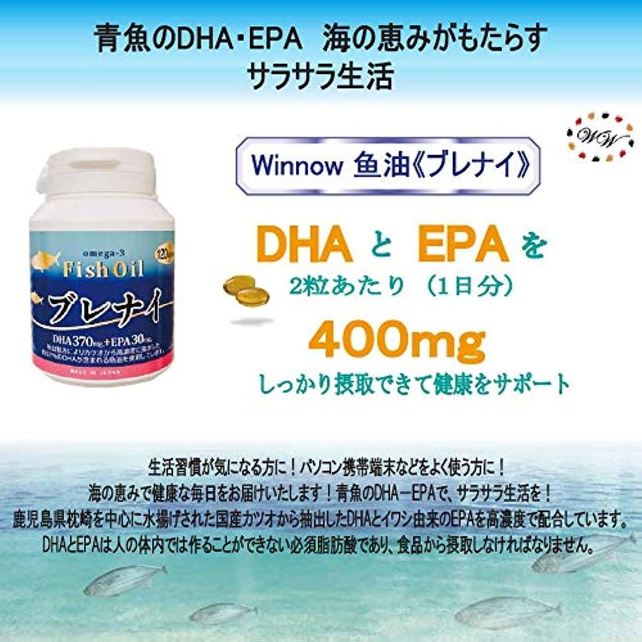 回転赤面ピンクWinnow魚油<ブレナイ> オメガ3脂肪酸 Omega3 Fish oil 日本産高濃度DHA、EPA / 120粒入り