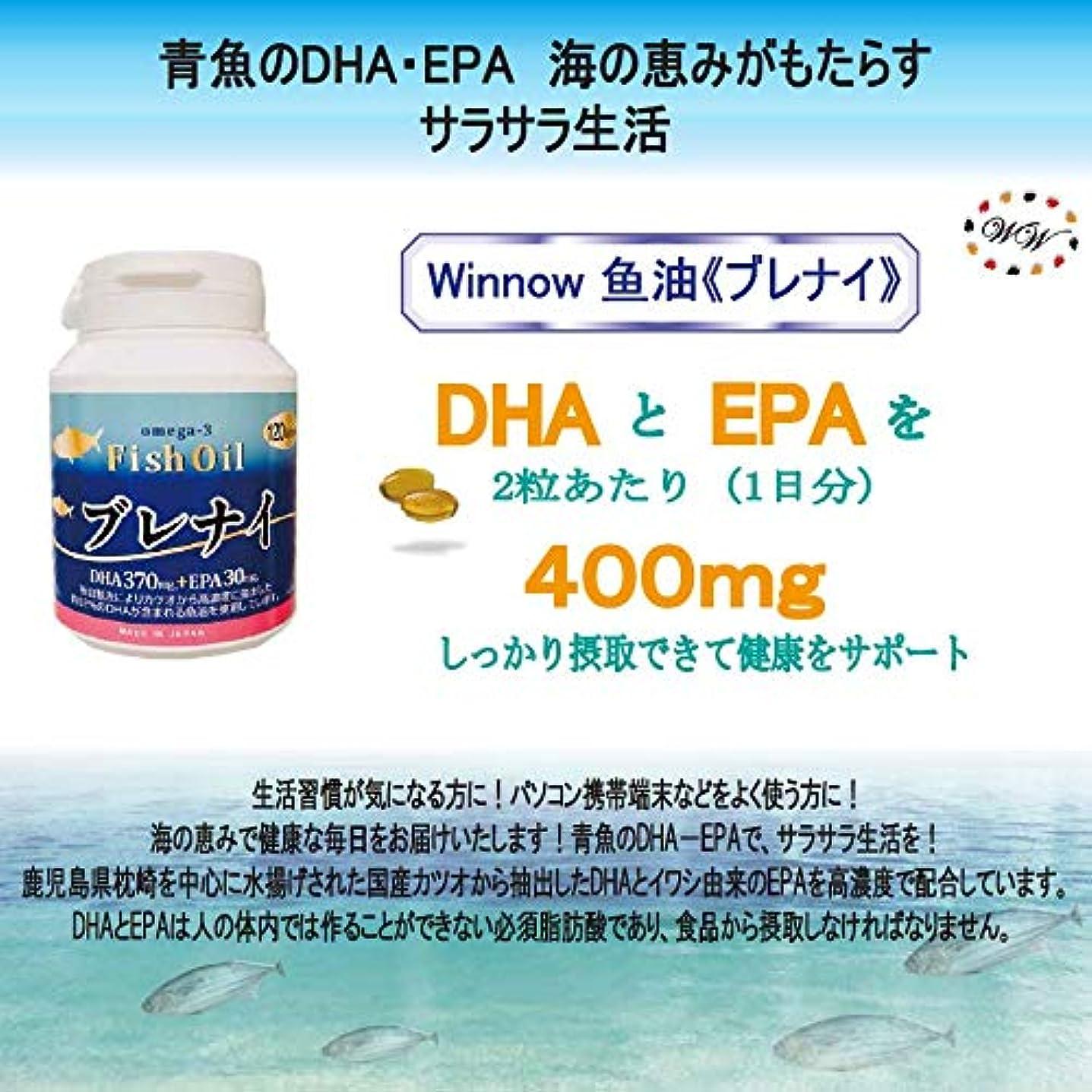 シュートペリスコープインゲンWinnow魚油<ブレナイ> オメガ3脂肪酸 Omega3 Fish oil 日本産高濃度DHA、EPA / 120粒入り