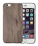 [PITAKA-正規品] iPhone 6 / iPhone 6s (4.7 インチ)用ケース 木製 黒くるみ 天然木/天然ウッド wood 和風 ナチュラル シンプル アイフォン 6/6sケース 超薄型 超軽量 耐衝撃 防塵 高級品 強化ガラスフィルム付け