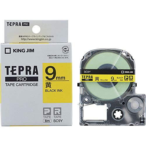 テプラ PRO用テープカートリッジ カラーラベル パステル 黄 SC9Y [黒文字 9mm×8m]