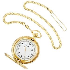 [アルバ]ALBA 懐中時計 ポケットウオッチ ゴールド 蓋付き アラビア数字 AQGK449