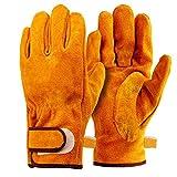耐熱 牛革 手袋 耐久質高グローブ キャンプ 工事 BBQ 家電製品の修理用 裏付き吸汗や防寒手袋 オレンジ