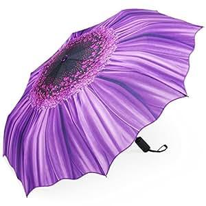 PLEMO 折り畳み傘 自動開閉折りたたみ傘 頑丈な8本骨 耐強風 梅雨対策 軽量 撥水性 収納ケース付 おしゃれ (パープル)