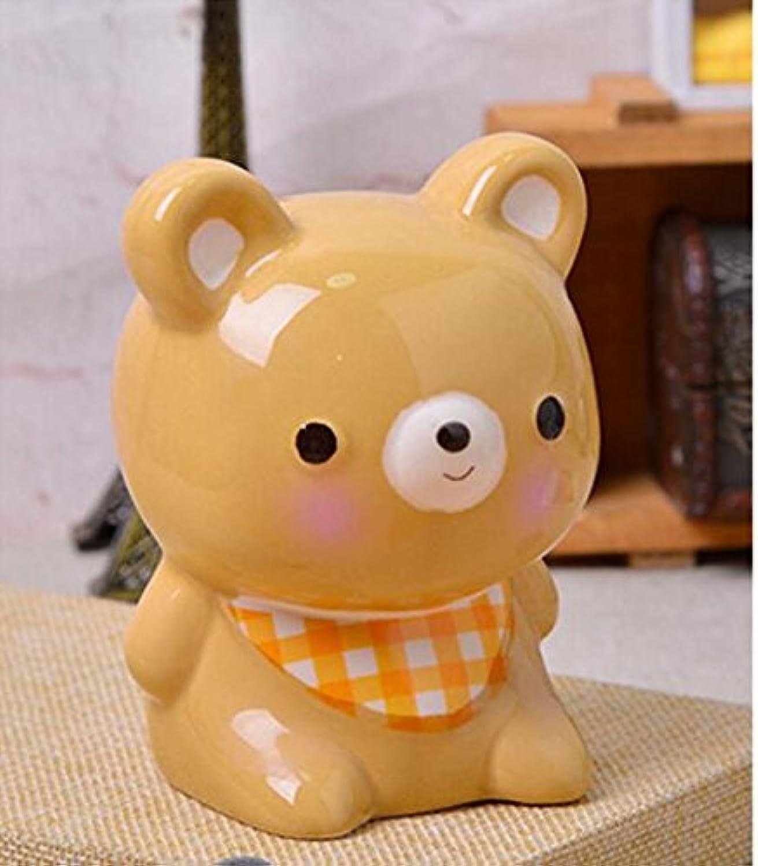 HuaQingPiJu-JP 動物モデリングピギーバンク手作りセラミックオーナメント児童報酬(コーヒークマ)