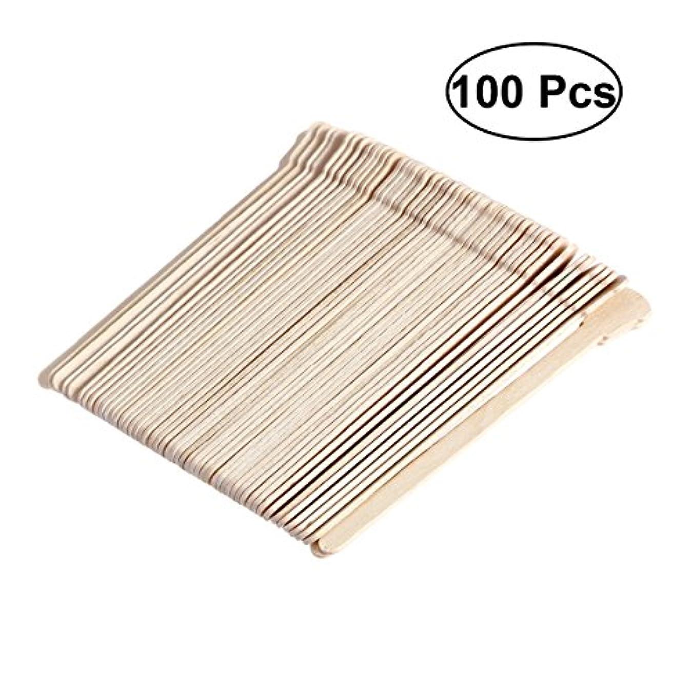 フラフープタイプライター家庭SUPVOX 100ピース木製ワックススティックフェイス眉毛ワックスへら脱毛(オリジナル木製色)