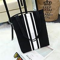 Student Tote Bag, Female Vertical Stripes Canvas Shoulder Bag Simple File Shopping Handbag (Black) Polykor