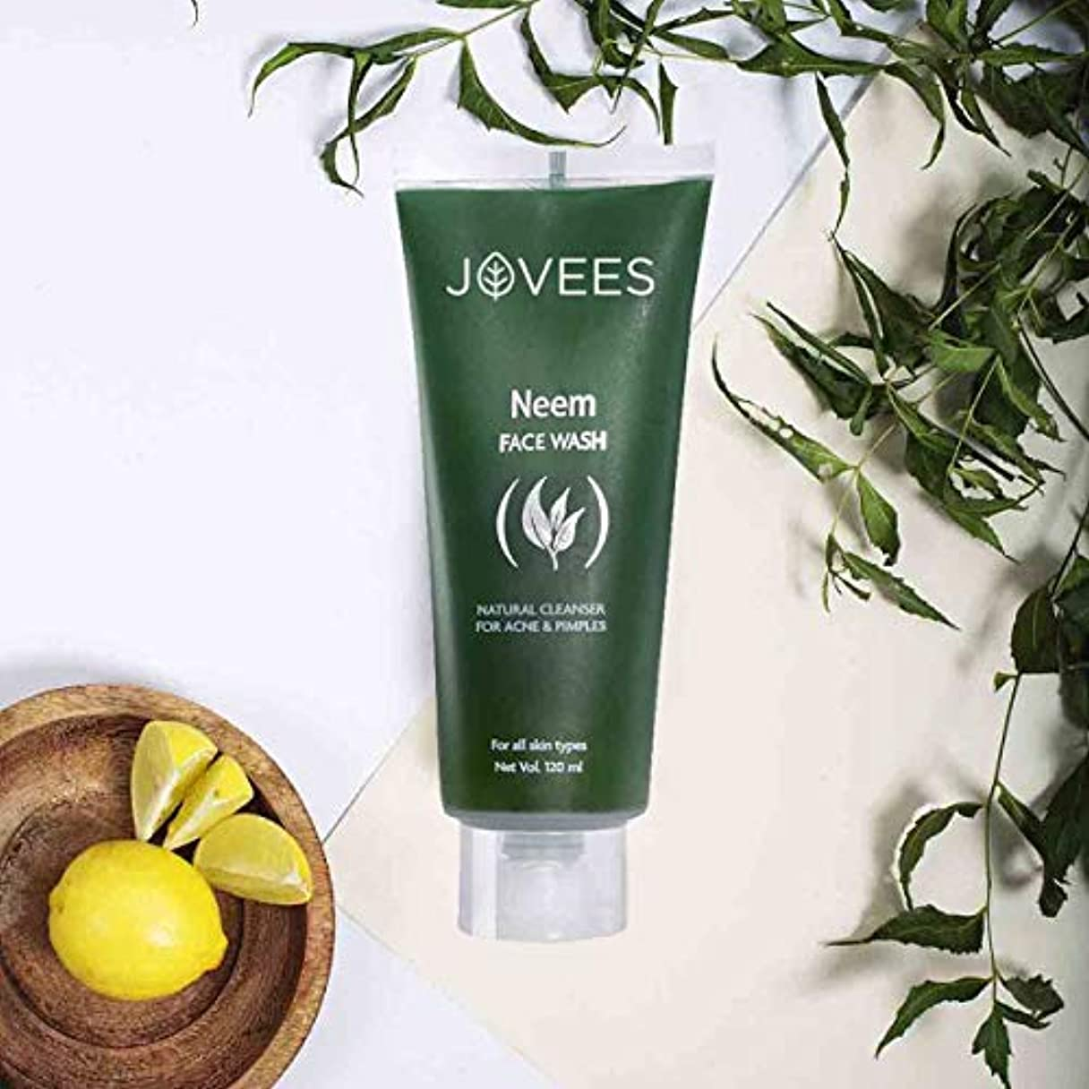 Jovees Natural Neem Face Wash 120ml help mitigate pimple & Acne improve skin complexion ナチュラルニームフェイスウォッシュがニキビの...