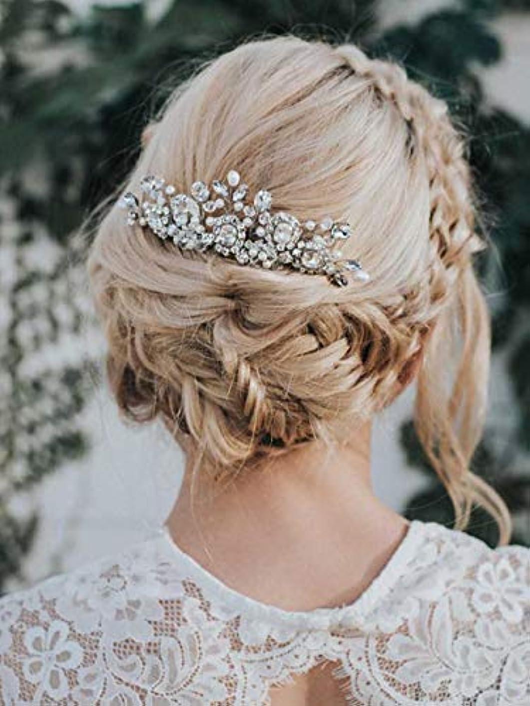 置き場擁する予測Aukmla Bride Wedding Hair Combs Crystal Rhinestones Stunning Bridal Hair Accessories Decorative for Women and...