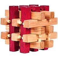 ノーブランド品 3D 立体 木製 パズル 積み木 知育 知的玩具 孔明ロック 面白い パズルゲーム ギフト