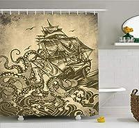 Ambesonne 船舶用シャワーカーテン 海の帆船 波 タコ クラーケン 触手 ホームアート セピア柄 布生地 バスルーム装飾セット フック付き 84インチ エクストラロング イエロー オリーブ