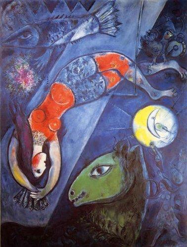 シャガール・「青のサーカス」 プリキャンバス複製画・ ギャラリーラップ仕上げ(6号サイズ)