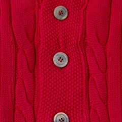Cotton Shawl Collar Cardigan: Red