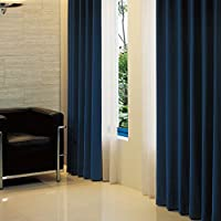 窓美人 アラカルト 1級遮光カーテン ロイヤルブルー 幅100×丈185cm 2枚組 フック タッセル 断熱 省エネ 高級感のある生地