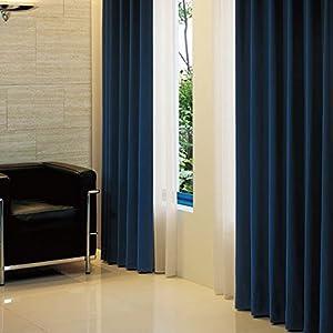 窓美人 アラカルト 1級遮光カーテン ロイヤルブルー 幅100×丈190cm 2枚組 フック タッセル 断熱 省エネ 高級感のある生地