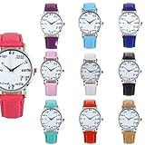 Lucaso レディース 腕時計 可愛い 数式 時計 クォーツ ウォッチ レザー シンプル キュート 人気 アナログ ファッション オシャレ 記念日 バレンタインデー 誕生日プレゼント (ホットピンク)