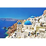 Kanzd Jigsaw Puzzles 1000 Pieces Puzzles for Adults Dreamy Aegean Sea Greece Santorini Landscape Puzzle 30 x 20 inch for Family Wall Decoration Gift