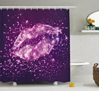 Ambesonne Purple Shower Curtain by, Digital Trendy Woman Lips with Sparkling Vibrant Light Effects Disco Stylized Art Print, Fabric Bathroom Decor Set with Hooks, 75 Inches Long, Purple [並行輸入品]