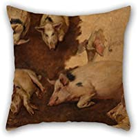 The Oil Painting Anders Askevold - Study Of Six Pigs Pillowcover Of 16 X 16 Inches / 40 By 40 Cm Decoration Gift For Bench Her Adults Gril Friend Living Room Teens (twice Sides)