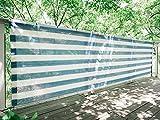 SEASONS ベランダ バルコニー シェード 日よけ 目隠し プライバシー UVカット 簡単設置 カット可能 ハトメ 28個 結束バンド 付属 360×100cm ブルー・ホワイト【3年間の安心保証】