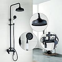 GX 浴室用水栓 シャワー蛇口フル銅ブラックダブルハンドル水浴シャワー蛇口シャワーセット