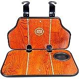 Tinton Life木製折りたたみ式車バックシートオーガナイザー実用的ノートパソコン食品トレイカップホルダーデスク オレンジ 0706A-XZB1-2