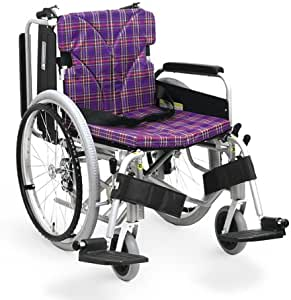 【非課税】カワムラサイクル 簡易モジュール車いす スイングイン・アウト式シート幅40cm 低床22インチ シルバー×紫チェック (KA822-40B-LOシルバー×A11) [自走・介助兼用]