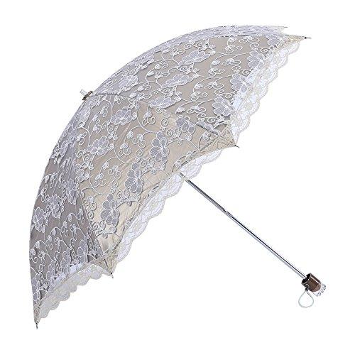 UPF 40?+レースUV保護パラソル折りたたみ傘プリンセススタイル雨傘レディース/ガールズ グレー Yosoo2art7oegfi-02