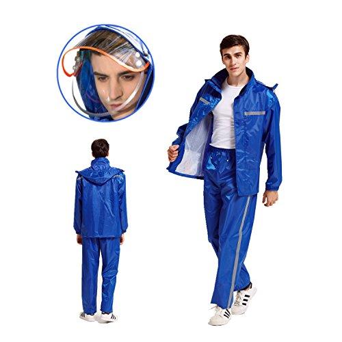 [해외]레인 코트 레인 상하 세트 통 습성 레인 분리형 비옷 이중 구조 모자 고품질 우비 통기성 메쉬 야간 반사 내구성 편안한 남성 여성 야외 낚시 자전거 자전거 통근 통학/Raincoat rain suit upper and lower sets moisture permeable rain wear remov...