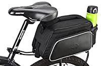 Waterproof 10L Cycling Bicycle Bike Rear Rack Seat Bag Outdoor Travel Leather Pouch Bicycle Panniers Bags -Black [並行輸入品]