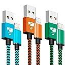 ライトニング ケーブル Rephoenix iPhone充電ケーブル 【2mx3本】高耐久ナイロンケーブル iPhoneコード