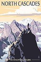 North Cascades国立公園、ワシントン–Mountain Peaks 24 x 36 Signed Art Print LANT-53026-710