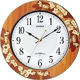 CITIZEN (シチズン) 掛時計 プリュマージュM467 電波時計 セントポーリアの花柄象嵌仕上 8MY467-006