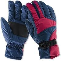 [QIFENGDIANZI]スキーグローブ スノボー グローブ 手袋 アウトドア メンズ レディース 冬用 バイク 登山 自転車 防水 防寒 保温 防風 滑り止め付  耐磨耗性 レッド/ブルー