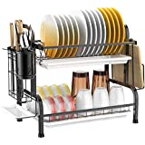 Dish Drying Rack-304 Stainless Steel-Utensil Holder Cutting Board Holder-Rustproof Dish Drainer with Removable Drain Board fo