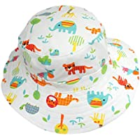 Unbranded Baby Boy Girl Cotton White Animals Zoo Bucket Cowboy Sun Hat with Chin Strap