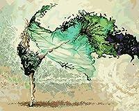 数字キットでペイント、Diy手描きの数字でペイントデジタル油絵グリーンドレスバレエダンサーモダンな抽象壁アート写真のリビングルームのホームDecorram