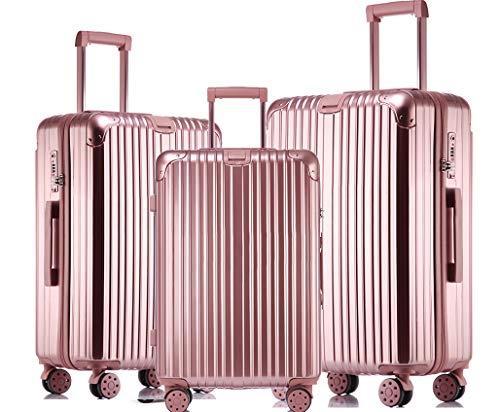 JINXIANGMEI スーツケース 機内持ち込みスーツケース TSAロック キャスター 海外旅行 3点セット(S+M+L)3003 (S+M+L, ローズゴールド)