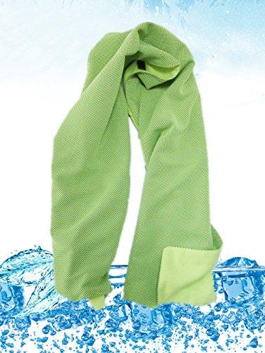 (インマン) INMAN スポーツタオル 冷却タオル 冷感タオル クールタオル 速乾 吸水 熱中症対策 (緑, 二層構造)