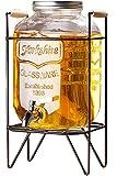 ドリンクサーバー ガラス ジャグ スタンド付き 蛇口付き 透明 持ち運び便利 (4L)