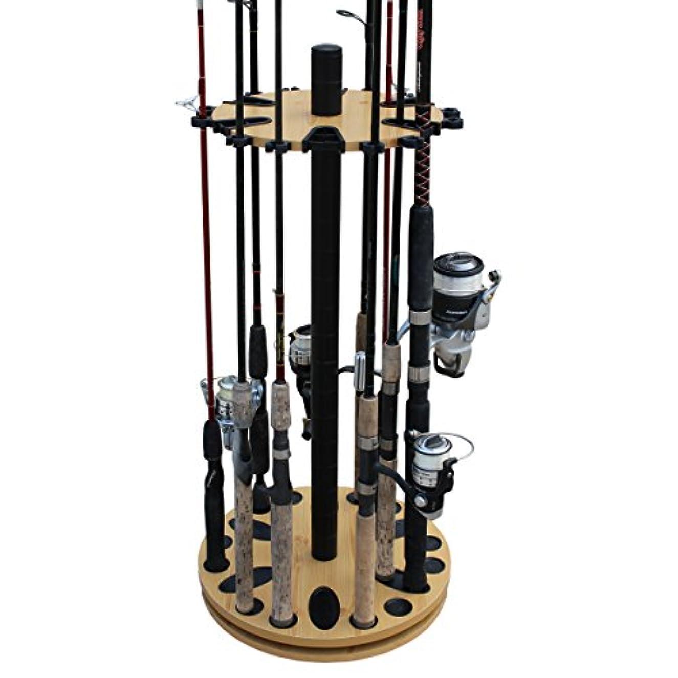 コンピューターゲームをプレイするマリナー政治家の(Wood Grain Laminate) - Rush Creek Creations 24 Round Spinning Fishing Rod