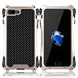 iPhone8 plus ケース Feitenn アルミニウム合金 ケース メタルバンパー 耐衝撃 全面保護 重感 軍用最強ケース (iPhone8 plus, black+gold)