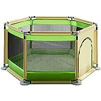 赤ちゃんの再生Playpen子供保護フェンスの子供赤ちゃんの幼児のフェンスクロールマットマット付きホーム屋内遊び場 (色 : Green)