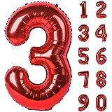 Angel&tribe 番号 0-9 誕生日 パーティー 装飾 ヘリウム 箔 マイラー 大きい 番号 バルーン 40インチ レッド レッド3